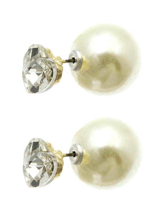 Heart Solitaire Double Sided Ball Stud Earrings Clear Heart Cream Ball