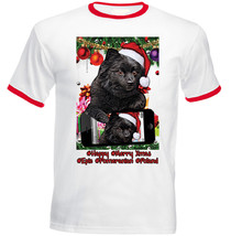 Pomeranian Black Christmas Selfie - New Red Ringer Cotton Tshirt - $27.47