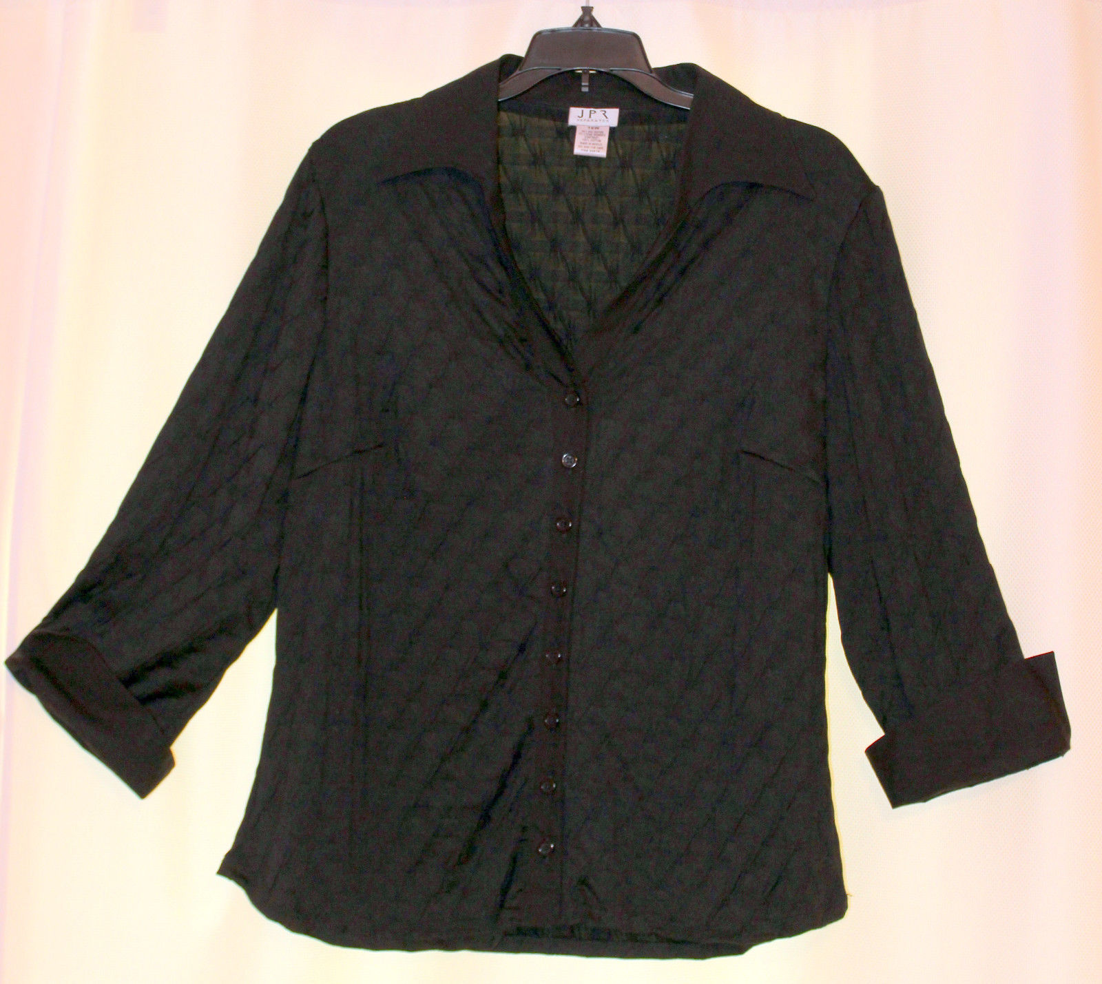 Primary image for JPR BLACK DIAMONDS TOP BLOUSE BUTTON DOWN SHIRT 3/4 SLEEVES CUFFS CAREER 16W 1X