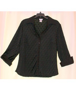 JPR BLACK DIAMONDS TOP BLOUSE BUTTON DOWN SHIRT 3/4 SLEEVES CUFFS CAREER... - $9.99
