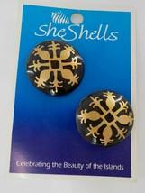 She Shells Gold Painted Native Wood Earrings Black Fashion Jewelry Post Hawaiian - $19.99