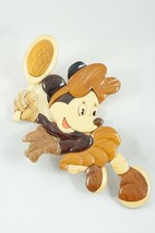 Vintage Disney Minnie Mouse Tennis Star Wall Decoration Wood Intarsia Ma... - $38.22