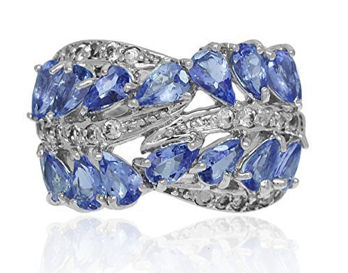 AFJewels 925 Sterling Silver Genuine Tanzanite White Zircon Womens Ring Band 12
