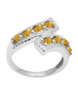 Shine Jewel 925 Sterling Silver 5x3 MM Citrine Bypass Over Wrap Design Ring - $20.01