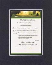 Personalized Touching and Heartfelt Poem for Father - What a Father Mean... - $15.79