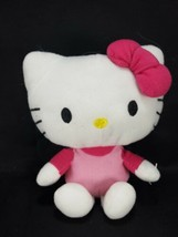 Hello Kitty Plush Stuffed Animal Pink Body Dark Pink Bow Sanrio White Cat - $11.87