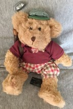 Plush Animal Russ Berrie Tan Dressed Golf Bear  Chip  - $11.87