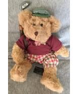 Plush Animal Russ Berrie Tan Dressed Golf Bear  Chip  - $11.87