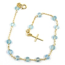 18K YELLOW GOLD ROSARY BRACELET, OVAL FACETED AQUAMARINE, MINI TUBE CROSS image 2