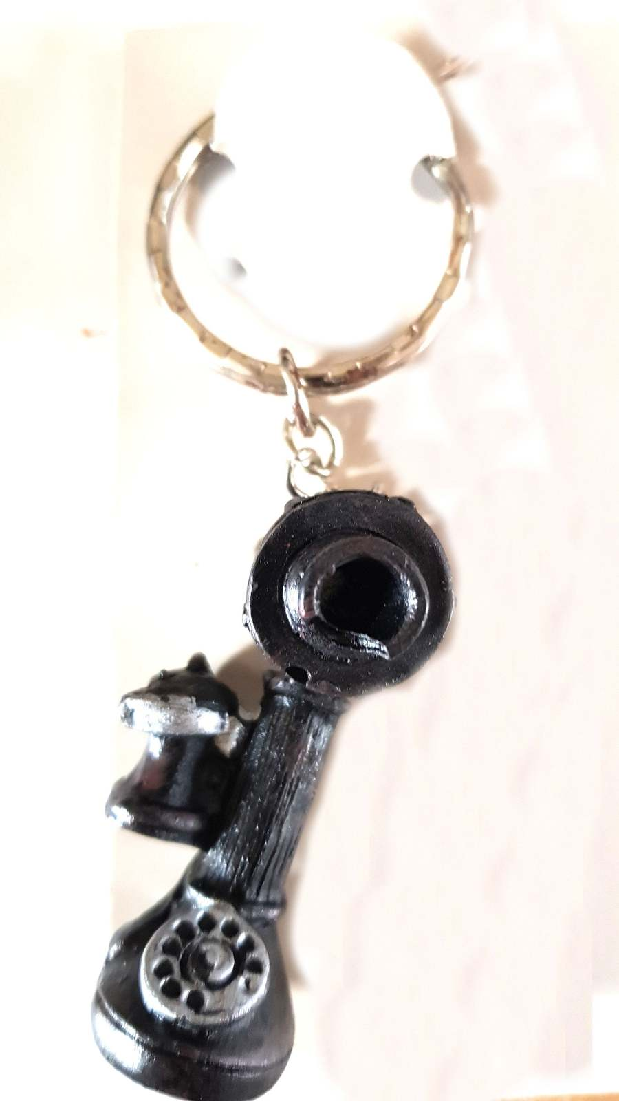 olde fashioned telephone hand molded and coloured keyring  handmade in uk from u