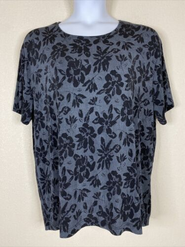 Primary image for Frazier Lawrence Womens Plus Size 3X Gray Floral Blouse Short Sleeve Stretch
