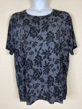 Frazier Lawrence Womens Plus Size 3X Gray Floral Blouse Short Sleeve Str... - $15.84