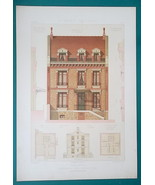 ARCHITECTURE Color Print - VICTORIAN Brick Mansion Paris Rue d'Erlanger ... - $30.60