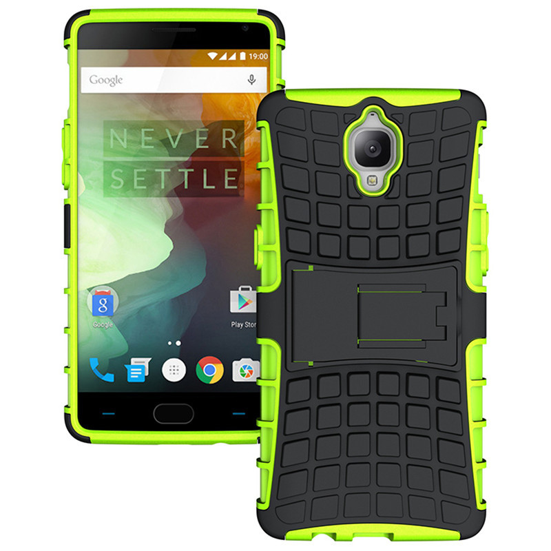 Id dual layer shockproof armor kickstand phone cover case for oneplus 3 green p20160704143301795
