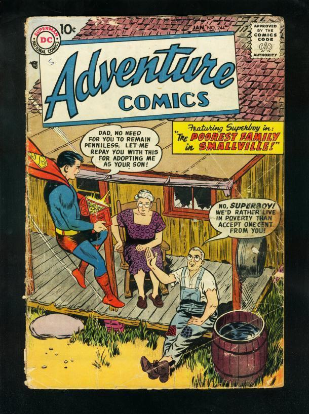 ADVENTURE #244 1958-SUPERBOY-GREEN ARROW-AQUAMAN-DC COMICS-good minus G-