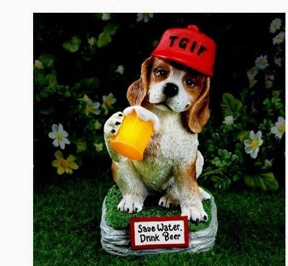 TGIF Beer Drinking Beagle Solar Dog Garden And 49 Similar Items