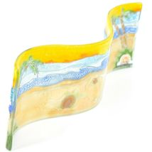 Fused Art Glass Ocean Baby Sea Turtle Wavy Decor Sun Catcher Handmade Ecuador image 3