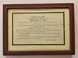 1929 antique EMANUEL G. FRY DEATH ANNOUNCEMENT lititz pa long rothsvillle - $47.50