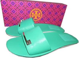 Tory Burch Green Leather Saleene Slip On Slide Logo Sandal Flat Shoes  3... - $79.95
