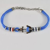 Steel Bracelet & Rope with Anchor & Cylinders Enamelled in Various Colours image 3