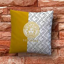 Versace Gold Diagonal Geometric Throw Pillow Case Decorative Cushion Cover - $11.90