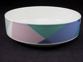 "Vintage 8"" Round Vegetable Bowl by MIKASA Tempo Eighty Pattern Pastel - $23.75"