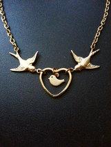 Gold Sparrows Baby Bird Necklace Love Birds Necklace Bird Family Necklac... - $34.00