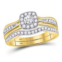 14kt Yellow Gold Round Diamond Bridal Wedding Engagement Ring Band Set 1/2 Ctw - $1,039.00