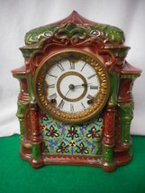 ANTIQUE ARABIA PORCELAIN CASED ANSONIA MANTLE CLOCK WORKS! - $787.05