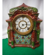 ANTIQUE ARABIA PORCELAIN CASED ANSONIA MANTLE CLOCK WORKS! - $787.05