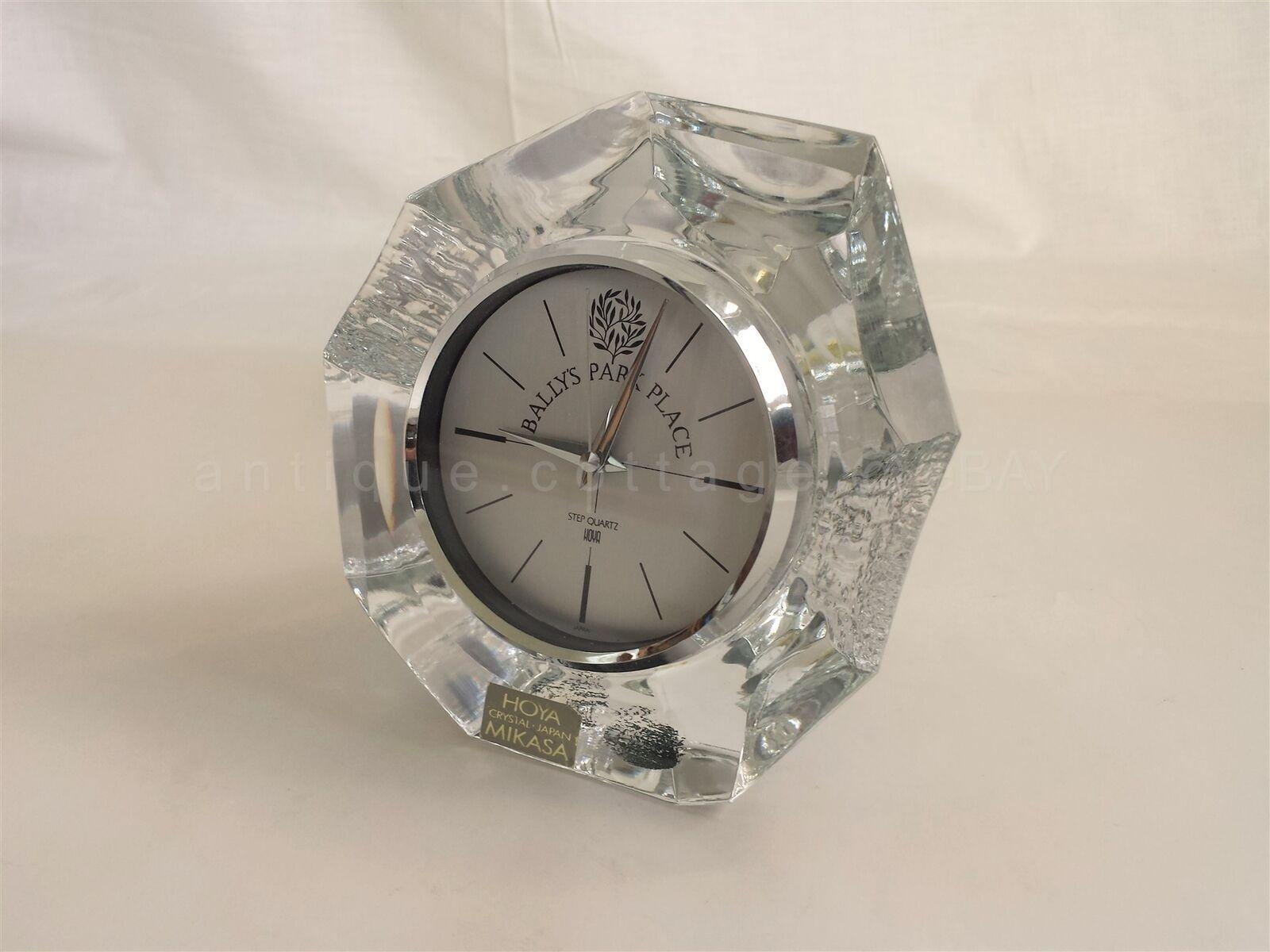 MIKASA HOYA CRYSTAL japan BALLY'S PARK PLACE step quartz CLOCK mantel