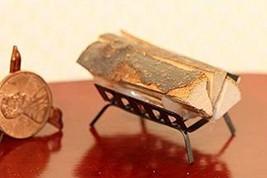 Dollhouse Miniature Filled Fireplace Log Holder in Black Metal - $11.13