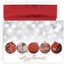 Sparkling Ornaments Holiday Cards With Red Foil... - $63.99
