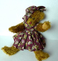 TY Brown Teddy Bear Jointed in Sun Dress and Hat retired 1993 - $7.87