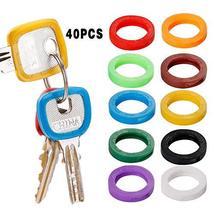 40 Pack Silicone Key Cap Tags,Plastic Key Identifier Rings,Key ID Rings,4 Pcs Ea image 9