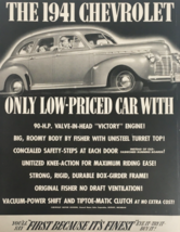 1941 Chevrolet Classic Low-Priced Car Vintage Print Ad - $14.20