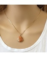 Small 18K Solid Gold Happy Laughing Buddha Real Red Jade Religious Pendant -651 - $287.10