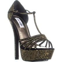 Steve Madden Avory US 9.5 Black Platform Sandals, Black/Gold, 8 US - $55.67