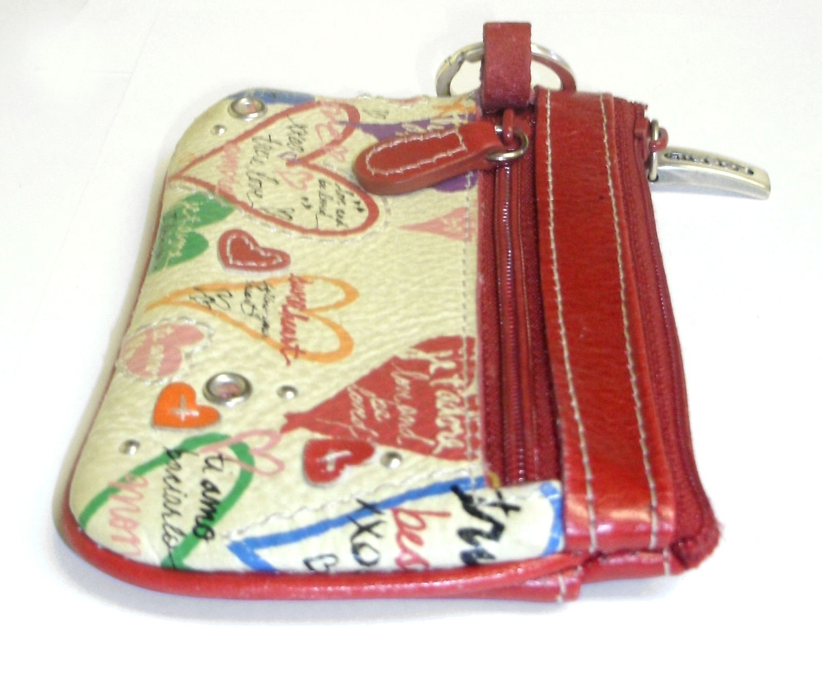 Fossil Mini ID Wallet Coin Purse Red Leather Heart Love Keychain image 6