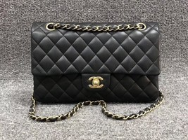 AUTHENTIC Chanel Quilted Lambskin Classic Medium Black Double Flap Bag GHW image 1