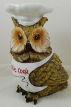 "Kiss The Cook Owl Figurine 6"" Resin Anthropomorphic - $19.79"