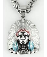 Men's Biker Stainless Steel Indian Head Pendant Necklace USA Seller! - $32.73