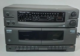 GE 11-2004A Stereo Music System AM/FM Dual Cassette Tape Deck WORKS No S... - $28.01