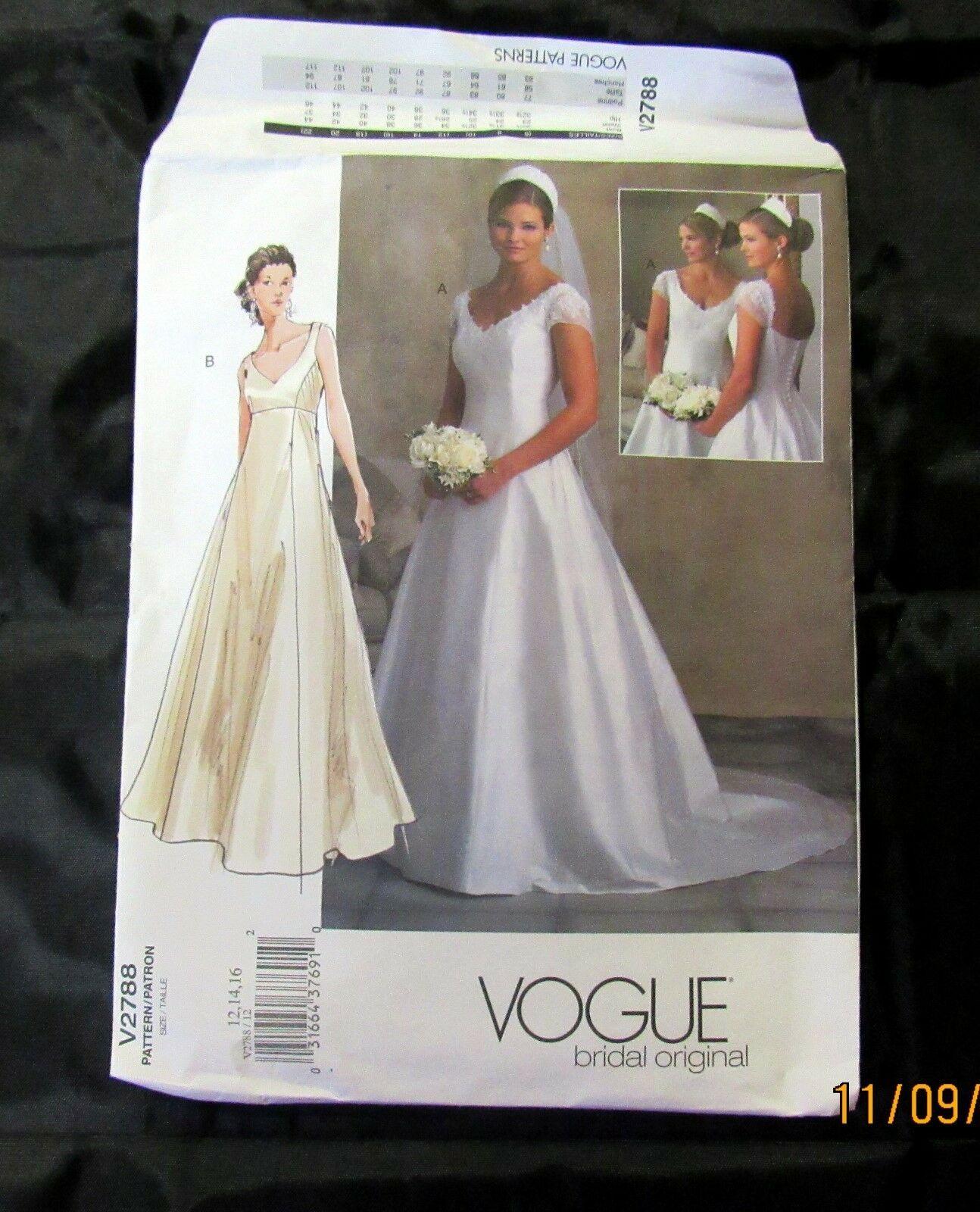 Vogue Sewing Pattern Bridal Original Wedding Dress V2788 Uncut FF 12 14 16