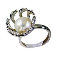 excellent Pearl Silver white Ring supplies L-1in US 5,6,7,8 - $21.99