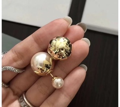 SALE! Auth Christian Dior Mise En Dior Tribal Petal Gold Double Pearl Earrings image 4