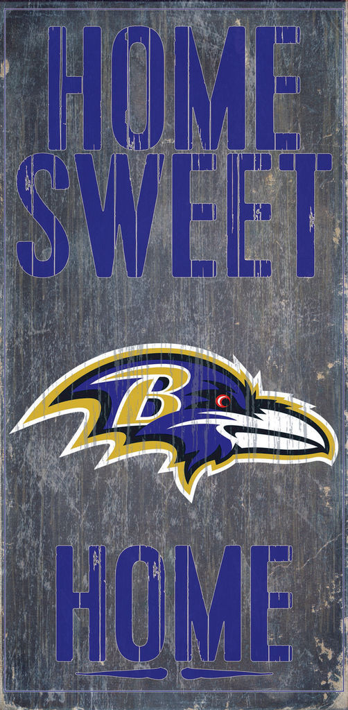 "BALTIMORE RAVENS HOME SWEET HOME WOOD SIGN and ROPE 12"" X 6""  NFL MAN CAVE!"