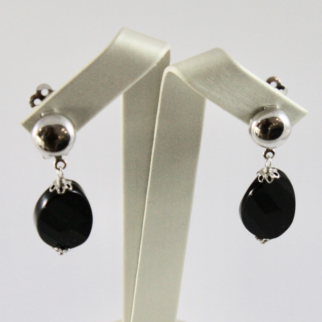 EARRINGS SILVER 925 WITH ONYX OVAL FACETED AND CLOSING CLIP WITHOUT HOLE
