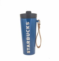 Starbucks Blue Vacuum Stainless Steel Tumbler Leather Strap Handle 16 OZ... - $72.27