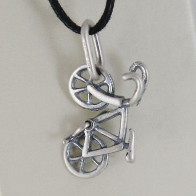 SILVER 925 PENDANT BURNISHED SHAPED BIKE, BICYCLE BIKE WITH CORD